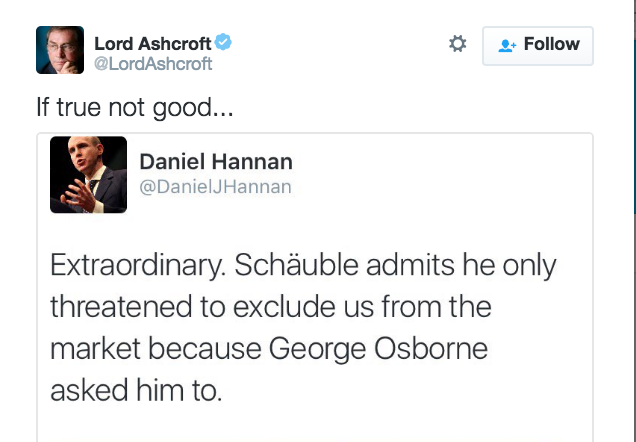 wolfgang schuble did indeed say that he made certain remarks at the request of osborne but what he said is to no surprise at all not what hannan said he - Wolfgang Schauble Lebenslauf