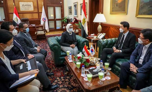 وزيرة الصحة تستقبل سفير كوريا الجنوبية لدى مصر لبحث سبل تعزيز التعاون بين البلدين في القطاع الصحي