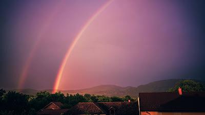Rainbow, Sky, Houses, Hills HD wallpaper