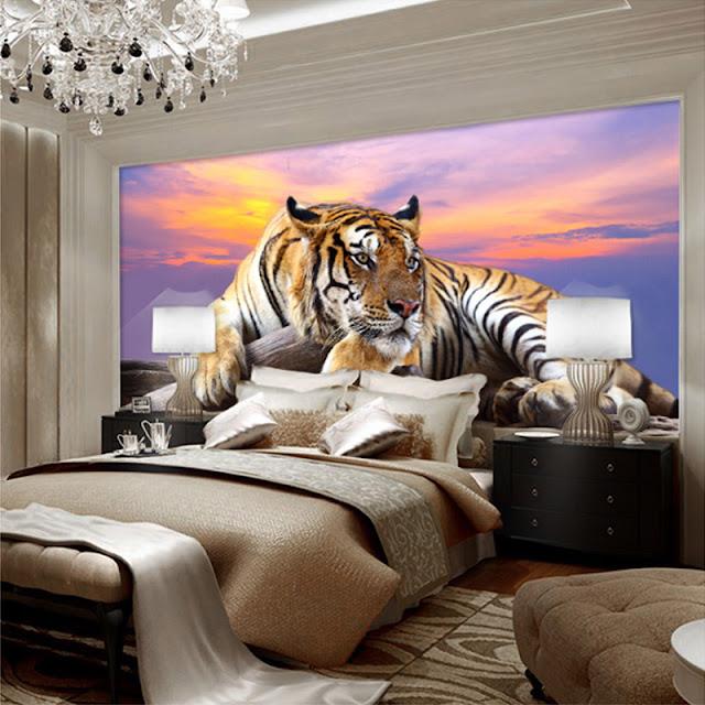 häftig tapet tiger fototapet cool fondvägg djur tapet