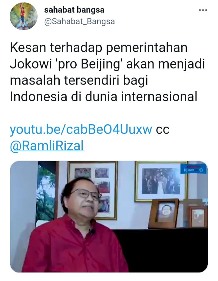 Sebut Jokowi dkk Sudah Terpengaruh China, Rizal Ramli: Ini Jadi Masalah Tersendiri Bagi Indonesia!