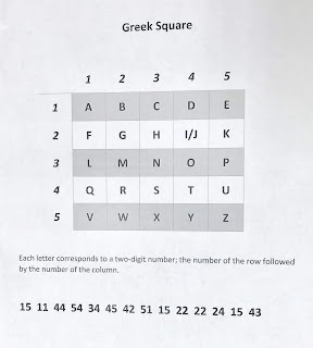 Greek square cipher and message