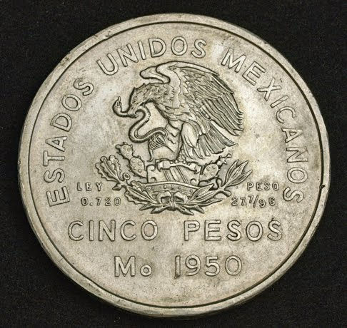 1950 Mexico 2nd Republic Large Silver 5 Pesos World