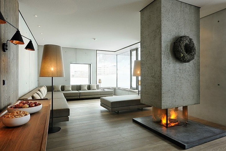 Living room with fireplace in Boutique Hotel, Austria