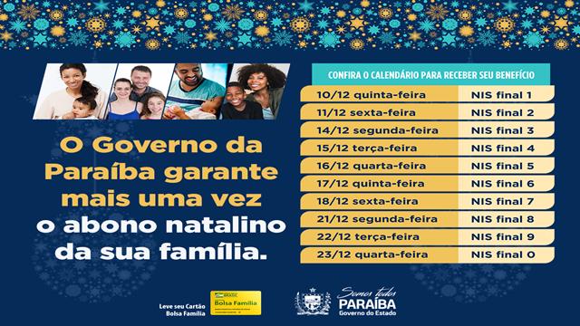 Abono natalino, que vai beneficiar mais de 520 famílias paraibanas, começa a ser pago na próxima semana; Confira o calendário