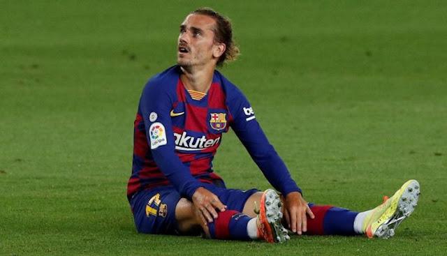 FC برشلونة يعلن اليوم أن مهاجمه الفرنسي أنطونيو غريزمان تعرض لإصابة عضلية ستبعده عن الفريق لفترة غير محدودة