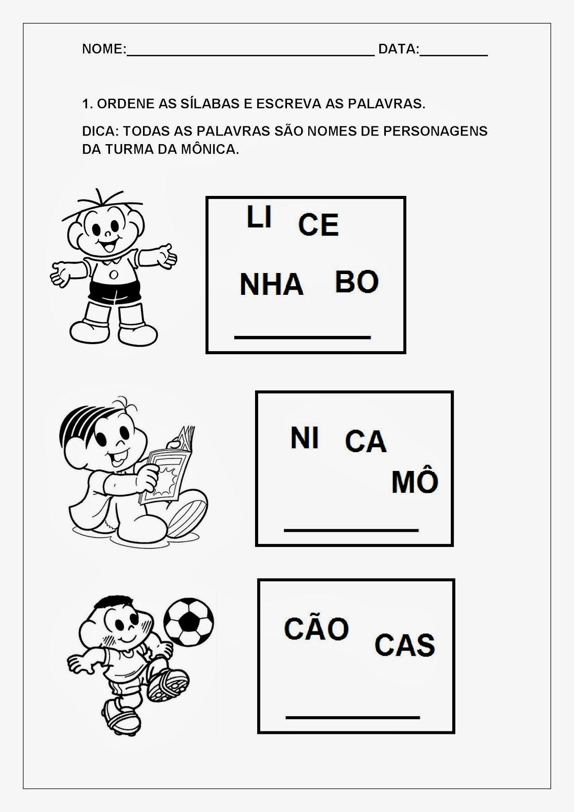 Alfabetizando com a Turma da Mônica - Desembaralhe as sílabas e descubra o nome dos personagens.
