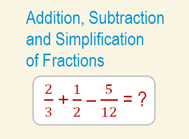 Addition, Subtraction and Simplification of Fractions