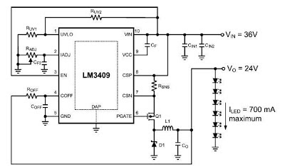 Dimming Controlled LED Driver Using LM3409   Circuit learning