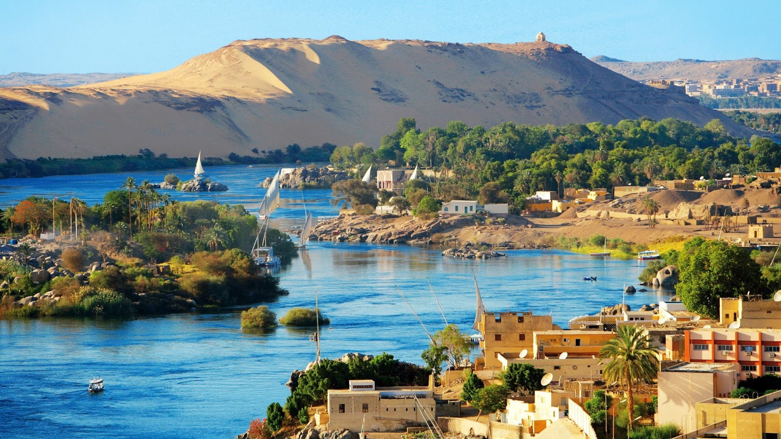 The best backdrop of the Nile from Aswan is the country of beauty and greenery