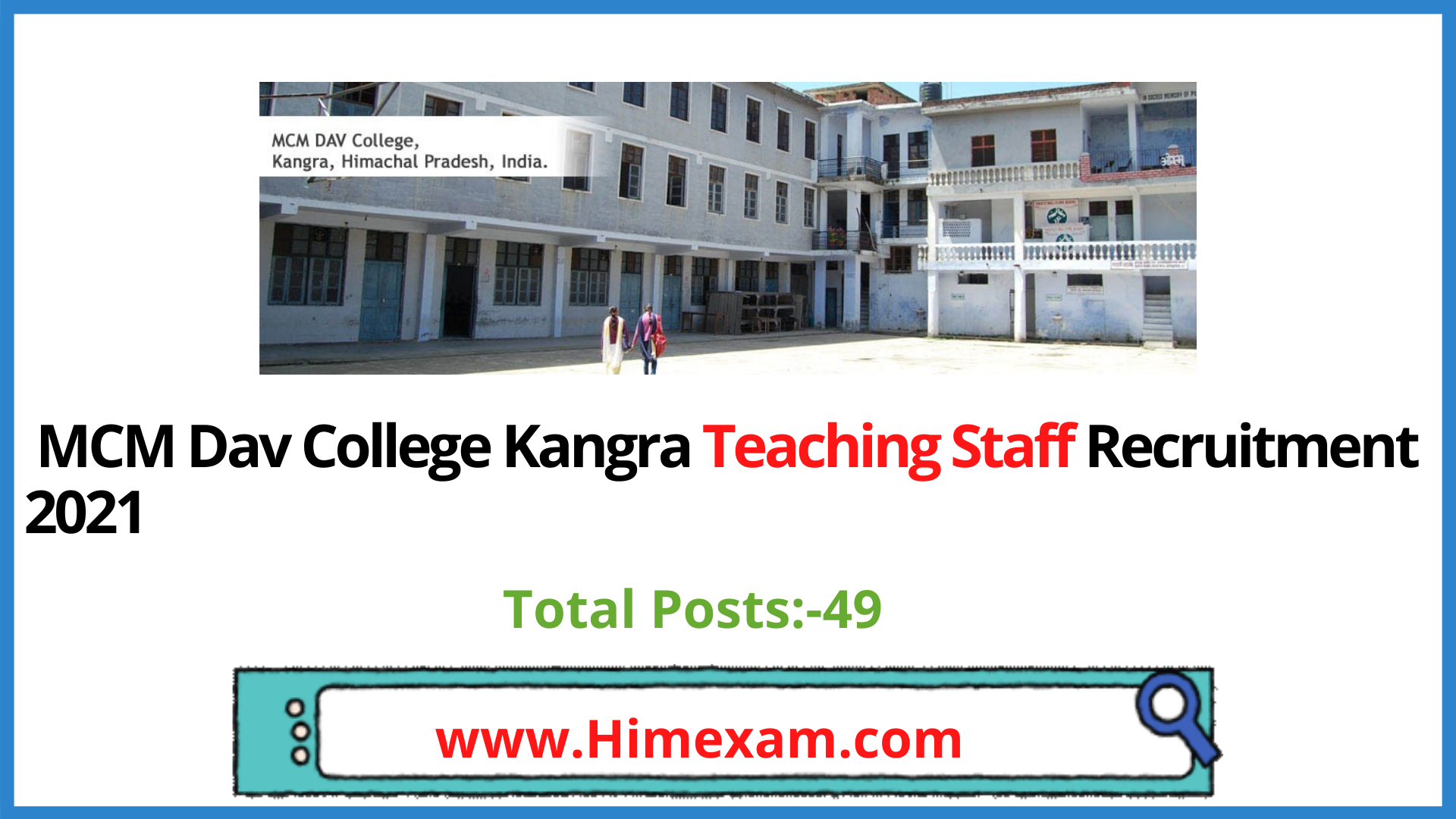 MCM  Dav College Kangra Teaching Staff Recruitment 2021