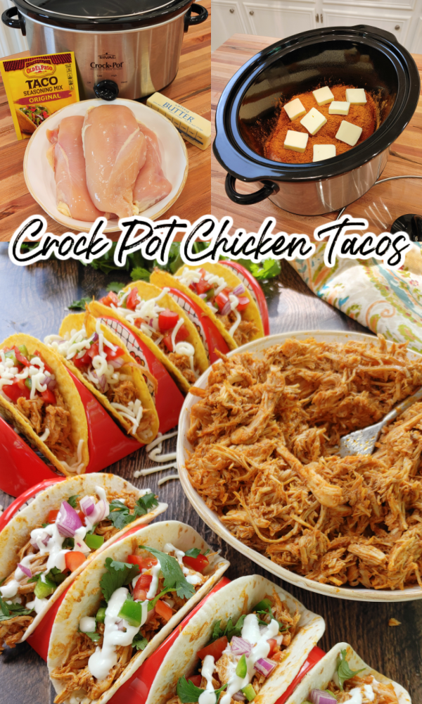 3-Ingredient Crock Pot Chicken Taco Meat by South Your Mouth - WEEKEND POTLUCK 479