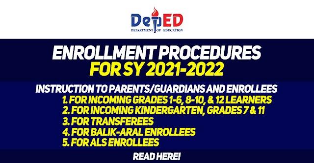 Enrollment Procedures for SY 2021-2022