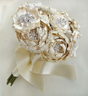 cascading silk wedding bouquets for bride