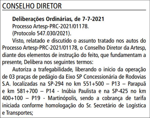 ARTESP libera cobrança de pedágios em Inúbia Paulista, Parapuã e Martinópolis  -   Adamantina Notìcias