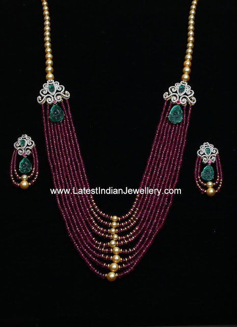 Diamond Mugappu Ruby Mala