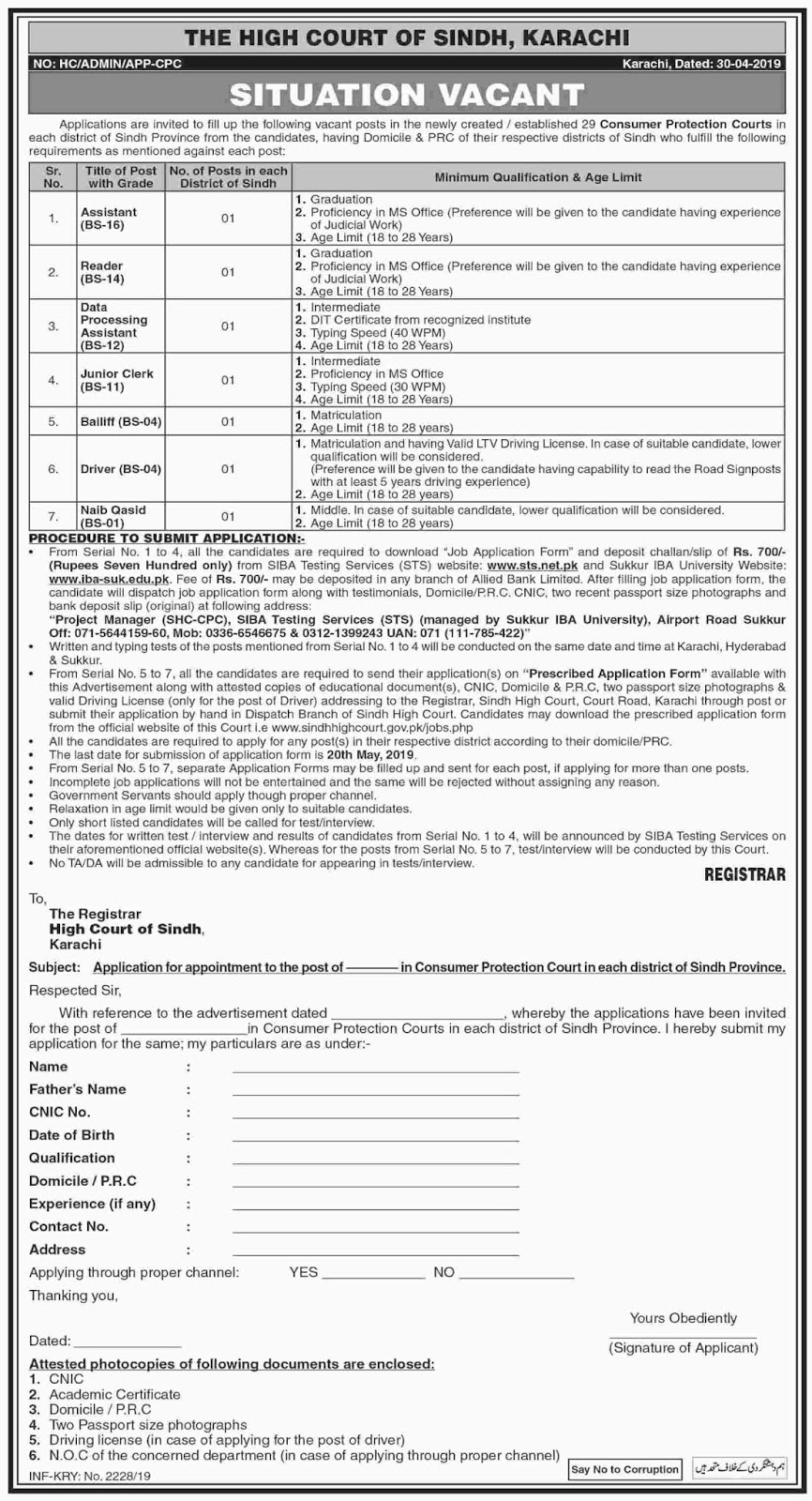Government Jobs in The High Court of Sindh,