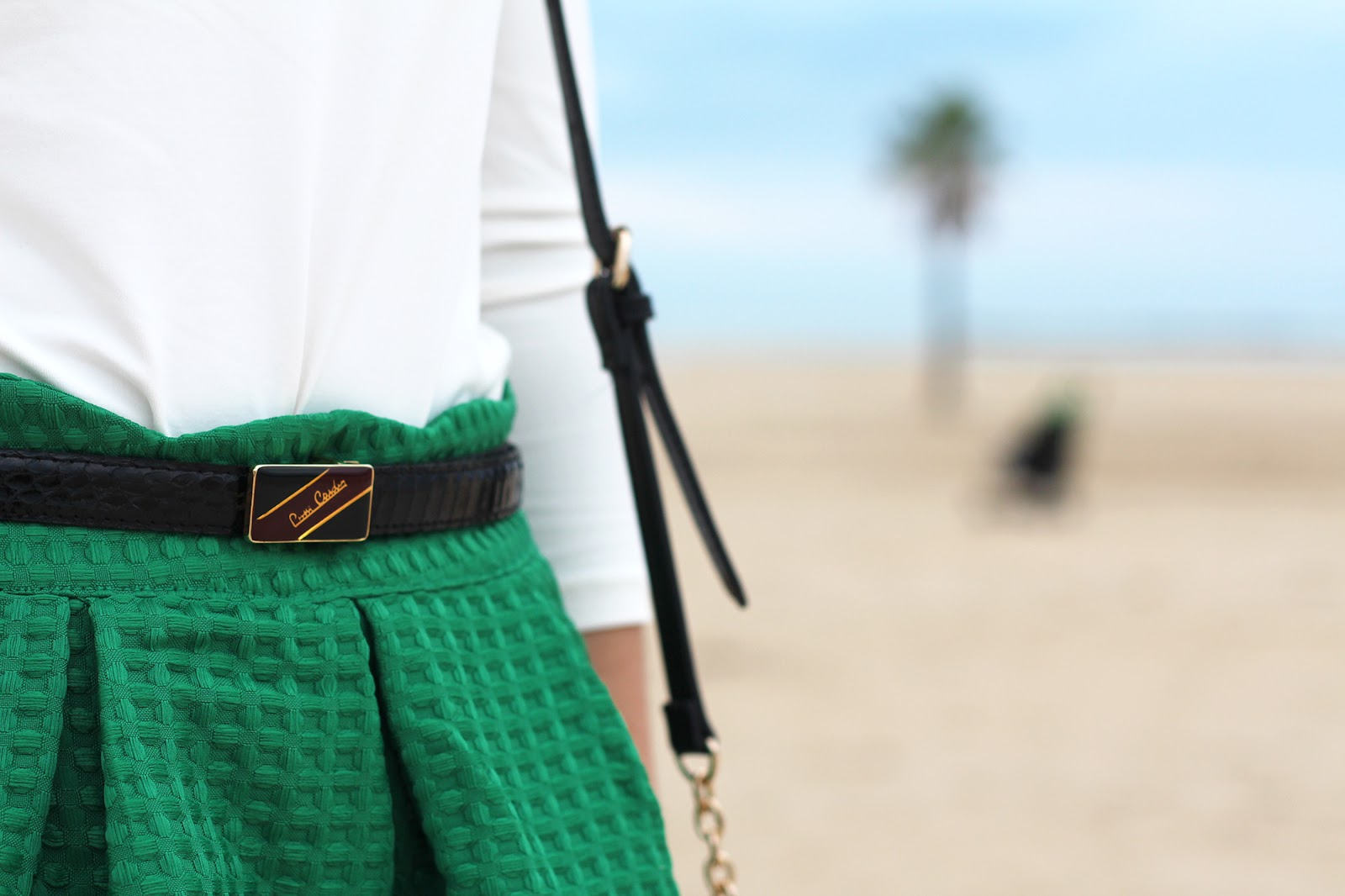 green midi skirt belt