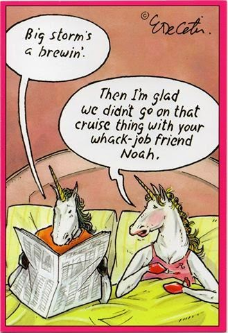 Funny Noah's Ark Unicorn Storm cartoon picture