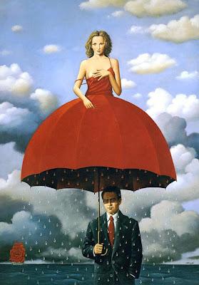 Creatividad lluvia y vestido de mujer rojo