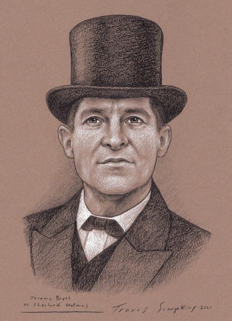 Jeremy Brett as Sherlock Holmes. Sir Arthur Conan Doyle. by Travis Simpkins