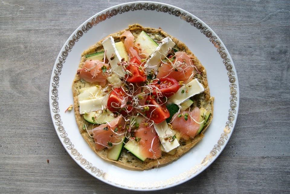 Omlet z łososiem i serami