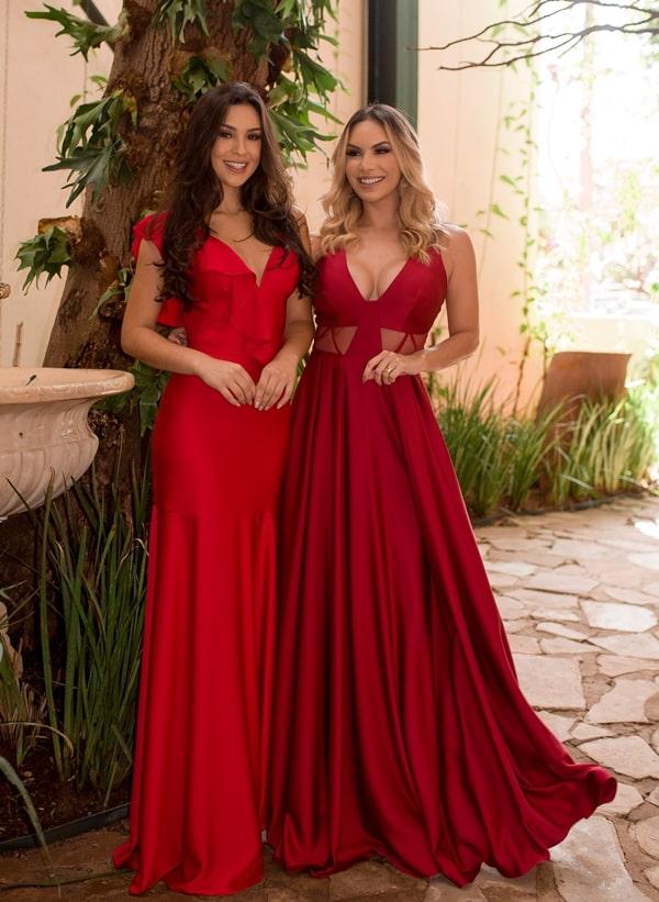 vestido longo vermelho marsala para madrinha de casamento