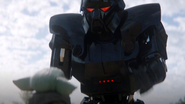 A Dark Trooper is about to apprehend Grogu in THE MANDALORIAN - Chapter 14: The Tragedy.