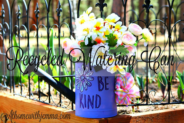 craft, homemaker, recylce, watering, can, paint, stencil, garden, decor