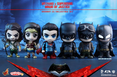 "Batman v Superman: Dawn of Justice Cosbaby Vinyl Figure Series by Hot Toys - Batman, Superman, Wonder Woman, Aquaman, ""Battle Damaged"" Armored Batman & Knightmare Batman"