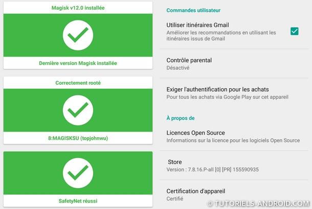 Mobile certifié, root activé, Magisk installé et SafetyNet réussi