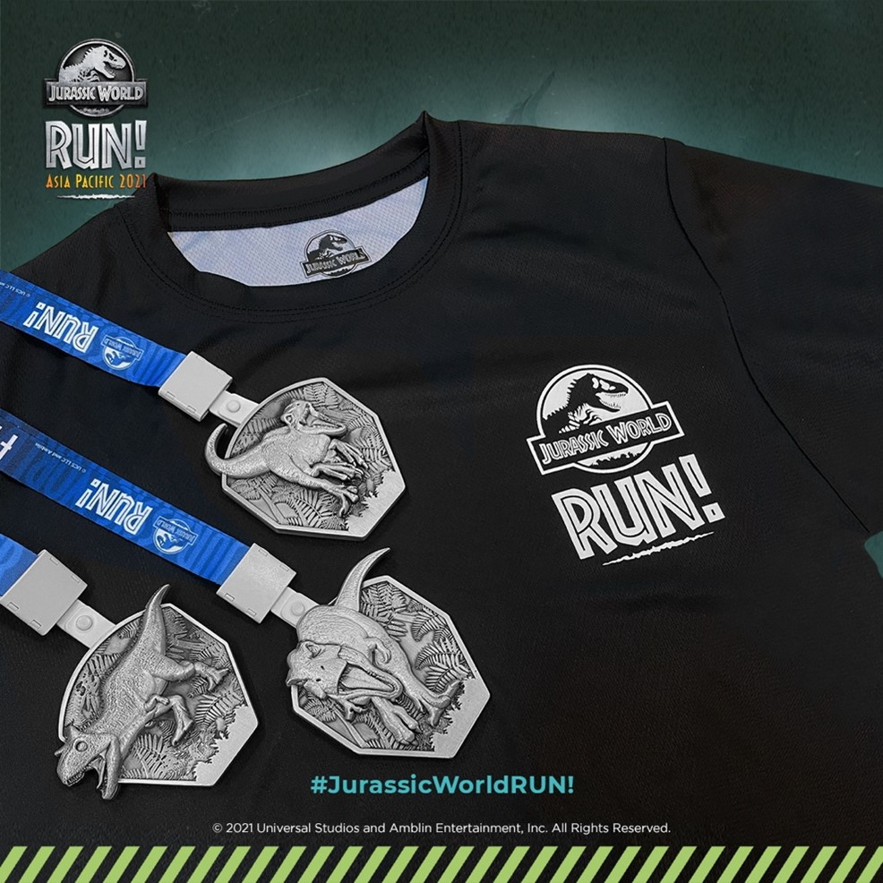 Jurassic World RUN! Asia Pacific 2021 finisher shirt and medal