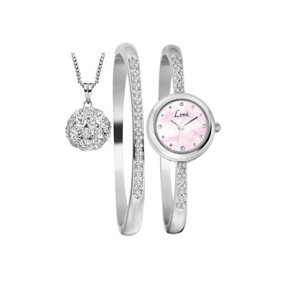 Limit Ladies Stone Set Watch Matching Bracelet, Ball Pendant Pink Mother of pearl dial