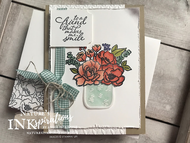By Angie McKenzie for Ink and Inspiration Blog Hop; Click READ or VISIT to go to my blog for details! Featuring the Jar of Flowers Stamp Set, the Forever Fern Stamp Set, the Tasteful Labels Dies, the Greenery Embossing Folders and the Flowers for Every Season Ribbon Combo Pack which are SNEAK PEEKS from the upcoming 2020-21 Annual Catalog; #jarofflowersstampset #foreverfernstampset #greeneryembossingfolders #tastefullabelsdies #justjadeginghamribbon #flowersforeveryseasonribboncombopack #coloringwithblends #fussycutting  #sneakpeek20202021annualcatalog #20202021annualcatalog #bloghops #inkandinspirationbloghop #stampinup #cardtechniques #naturesinkspirations #stampinupcolorcoordination