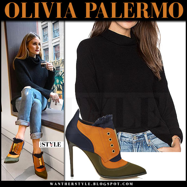 Olivia Palermo in black turtleneck sweater and orange green booties jimmy choo mitsu what she wore