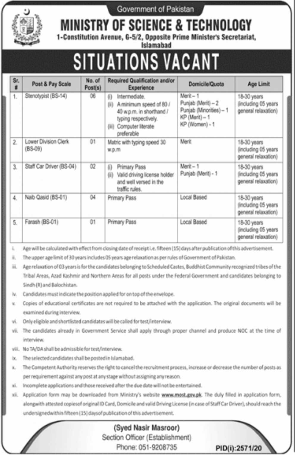 Government of Pakistan, Ministry of Science & Technology Jobs 2020