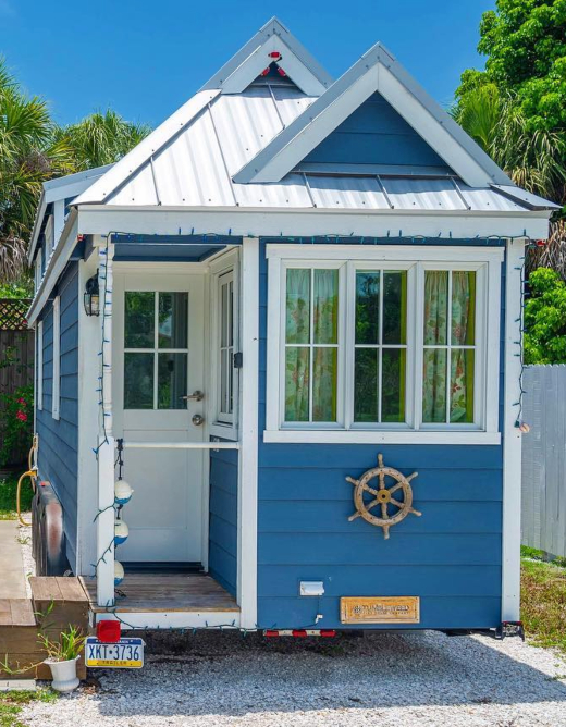 Blue Painted Tiny House Beach Vacation Rental Home FL
