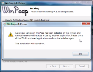 A previous version of WinPcap has been detected on this system and cannot be removed because in use by another application.  Please close all the WinPcap-based applications and run the installer again