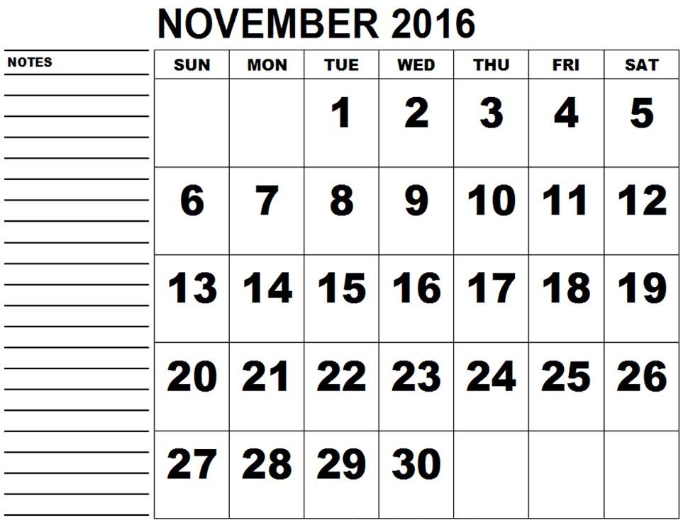 November 2016 Printable Calendar Templates