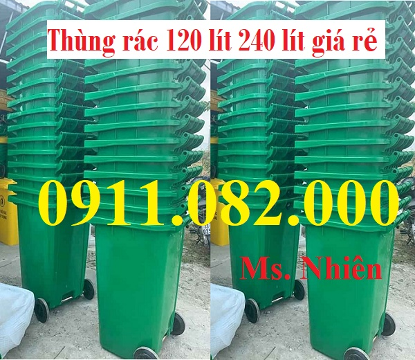 Nơi phân phối sỉ lẻ thùng rác 240 lít giá rẻ tại trà vinh- lh 0911.082.000