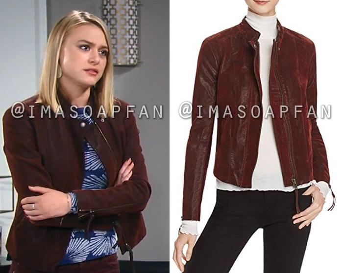 Kiki Jerome, Hayley Erin, Burgundy Faux Leather Jacket, General Hospital, GH