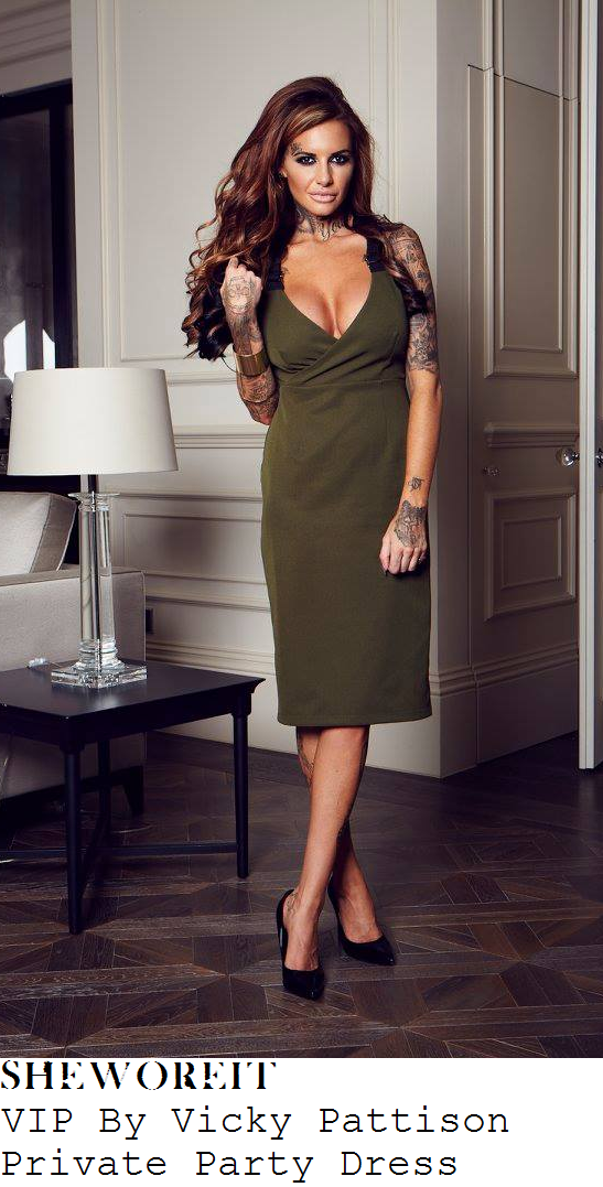 casey-batchelor-vip-by-vicky-pattison-private-party-khaki-and-black-strap-detail-dress