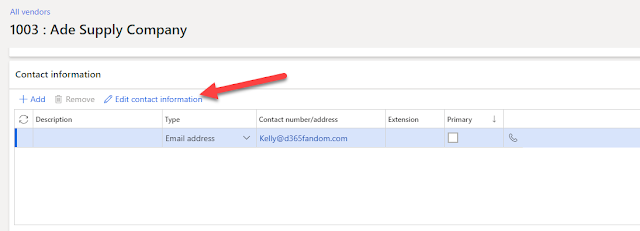 Add an email to the Vendor record under Contact information