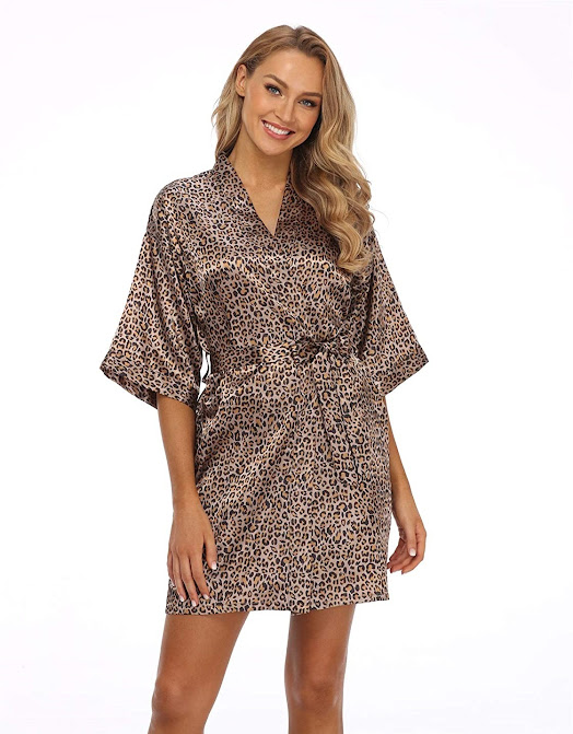 Satin Robes With Leopard Pattern Animal Print