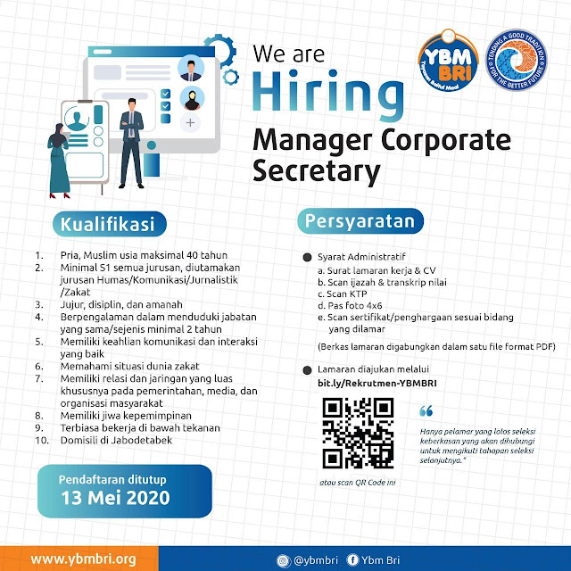 Lowongan Pekerjaan Manager Corporate Secretary YBMBRI