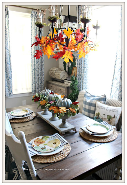 French -Country- Farmhouse-Cottage-Blue-White-Buffalo-Check- Fall- Tablescape-From My Front Porch To Yours