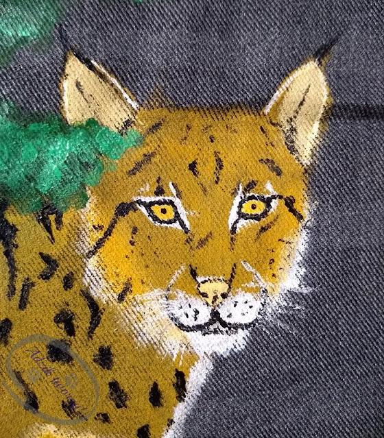 torebka handmade ryś ręcznie malowana - Adzik tworzy