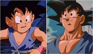 Kid Goku and Adult Goku