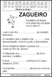Fichas de leitura e escrita letra Z