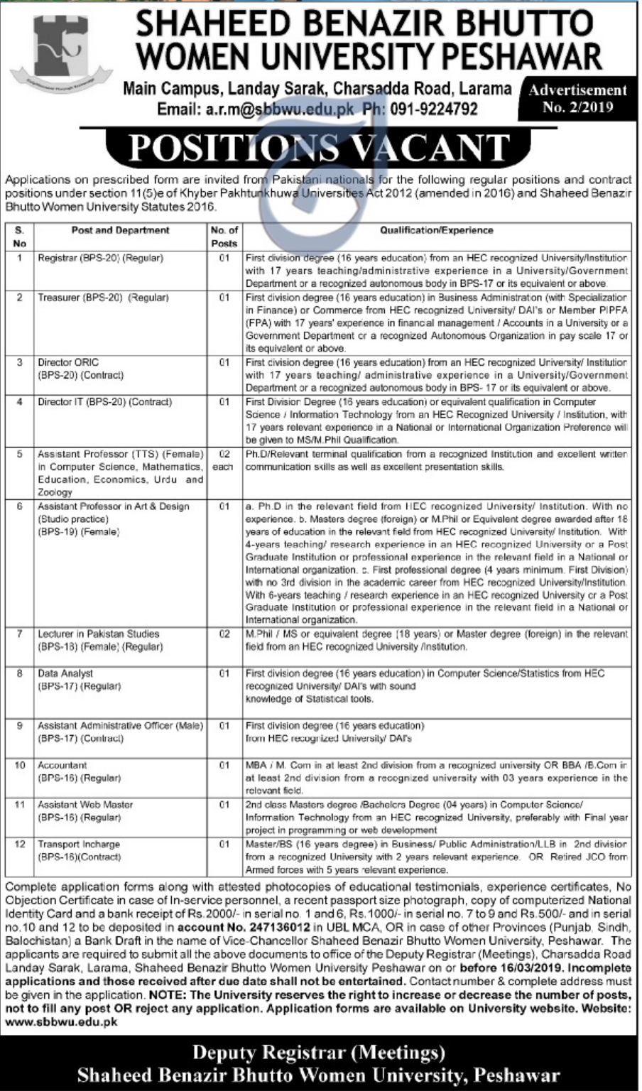 University Peshawar Jobs 2019